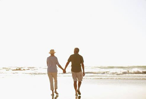 Photo of a couple walking on the beach, live a healthy life with COPD.