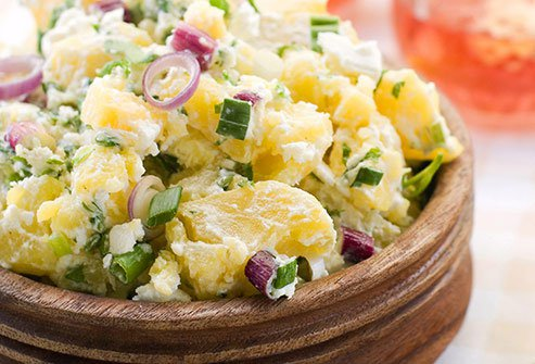 When cooled to room temperature or chilled in potato salad, they'll have more resistant starches, which take longer to digest.