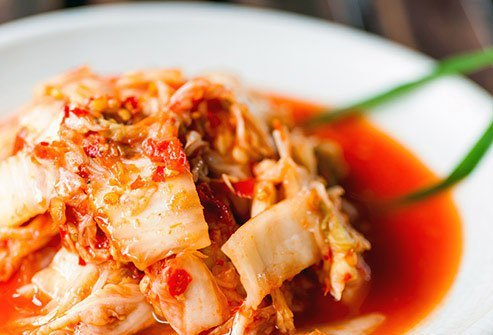 Fermented foods like this, made when bacteria feed on sugars in the vegetable, have natural probiotics that nourish the bacteria in your gut.