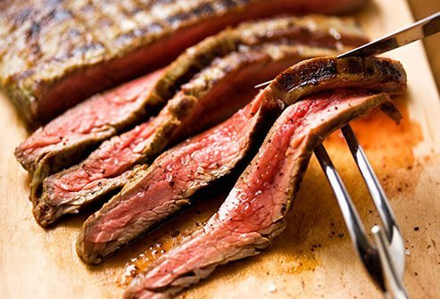 Choose lean cuts of red meat, and trim all the fat you can see off your meat before you cook it.