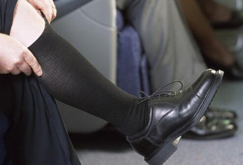 These special socks put gentle pressure on your legs to keep your blood moving.