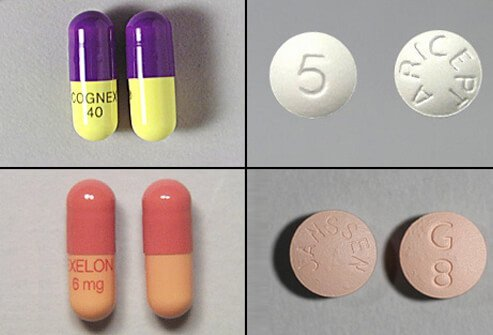 The FDA has approved four cholinesterase inhibitors approved for use in the U.S. to treat AD: tacrine (Cognex - top left), donepezil (Aricept – top right), rivastigmine (Exelon – bottom left), and galantamine (Reminyl – bottom right).