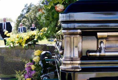 Photo of a funeral procession in a cemetery.