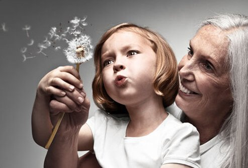 Photo of a grandmother and grandchild blowing a dandelion.