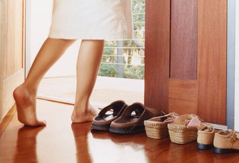 Make it easy to slip them on, so you aren't tempted to go outside barefoot.