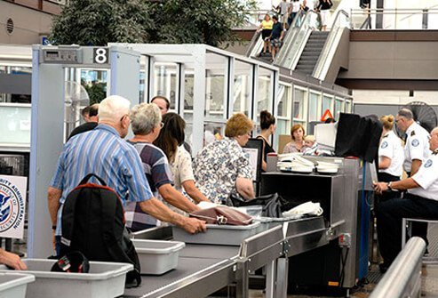A group of travelers going through airport security.