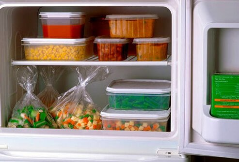 Healthy foods stored in convenient containers.