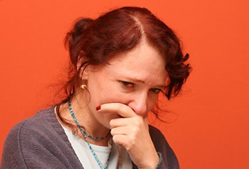Woman crying, worried and stressed psychologically.