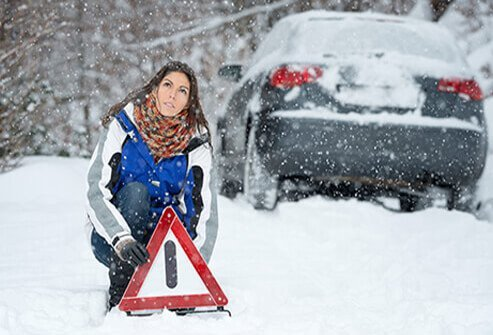 Have food for emergency preparedness and other supplies in your car in case you get stranded in harsh winter weather.