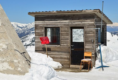 A storm shelter on the top of a mountain.