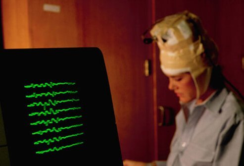 A patient taking an EEG test.