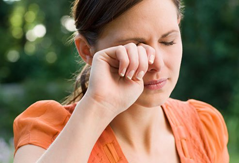 Try not to rub your eyes when allergies arise--it only makes things worse.