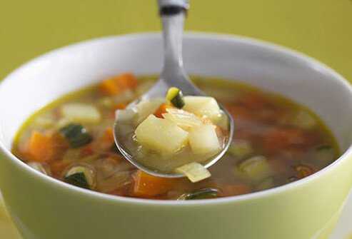 Photo of vegetable soup.