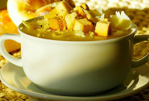 Warm soups and stews that are loaded with cream, cheese, or meat are also loaded with calories.