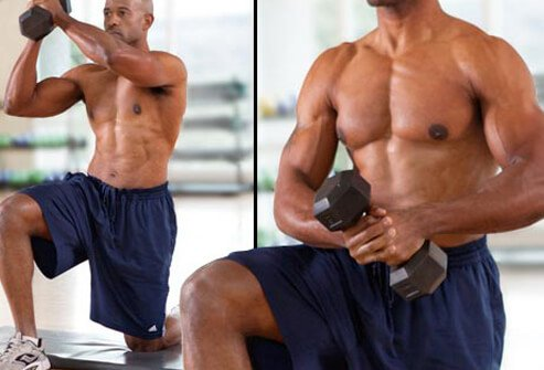 Grab a dumbbell, medicine ball, or cable weight system.
