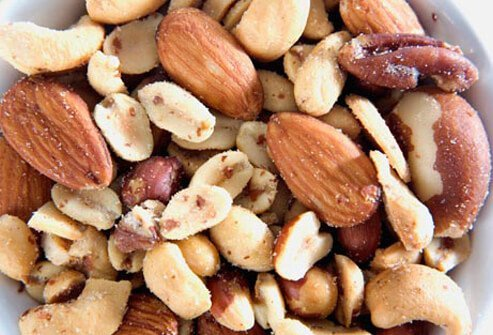 Photo of mixed nuts.