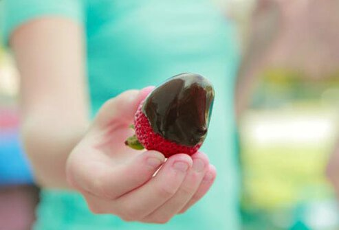 Photo of chocolate covered strawberry.