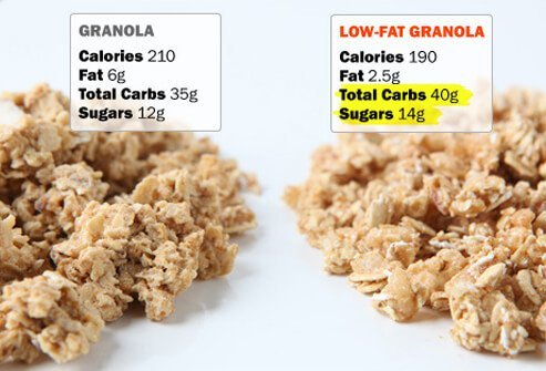 A photo of regular and low-fat granola.