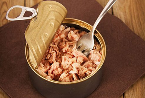 Choose fish canned in water for better triglyceride levels.