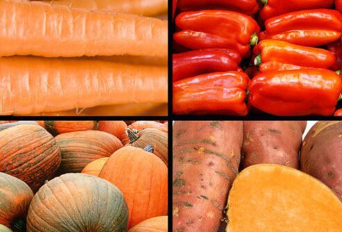 Orange vegetables come packed with vitamin C and beta-carotene.