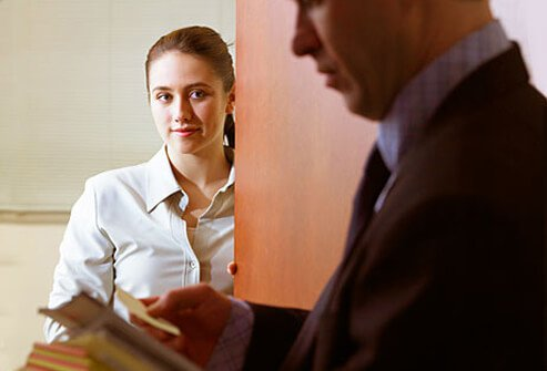 Photo of woman admiring well dressed businessman.