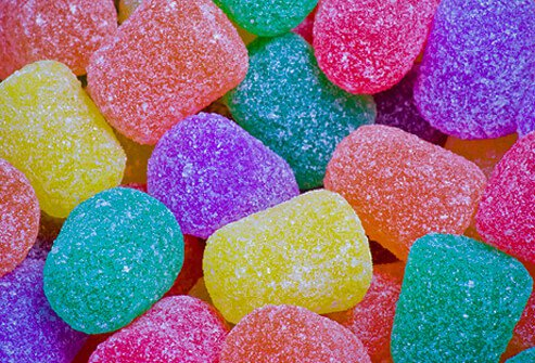 Variety of colored candy gumdrops.