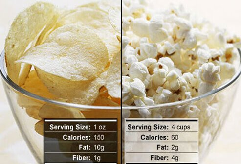 Photo of potato chips and popcorn.