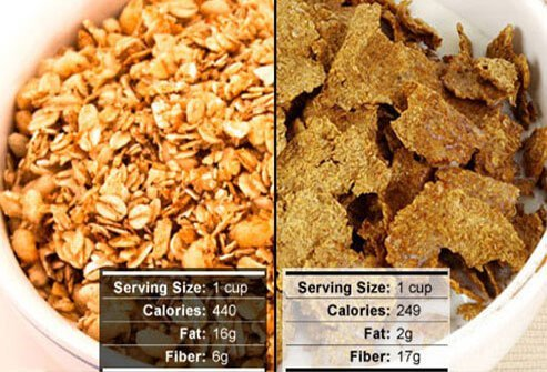Bran cereal is a low-fat healthy snack.