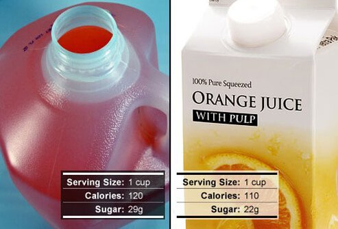 Always choose 100% whole fruit juice over sugar-sweetened artificial fruit drinks.