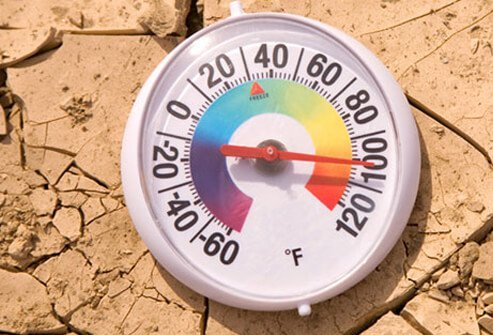 Photo of a thermometer showing the temperature climbing.