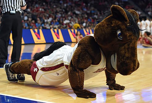 A mustang horse mascot doing push-ups on the basketball court.