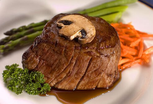 If you're counting calories and saturated fat, hamburgers, rib eye, porterhouse, or T-bone steaks don't score well.