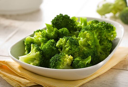 A bowl of steamed broccoli.