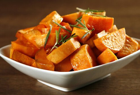 Baked chunks of sweet potatoes in a bowl.