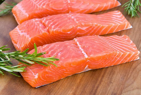 Fresh, wild salmon fillet steaks.