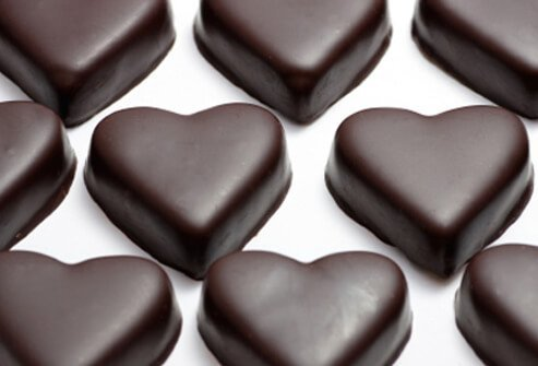 Dark chocolate hearts.