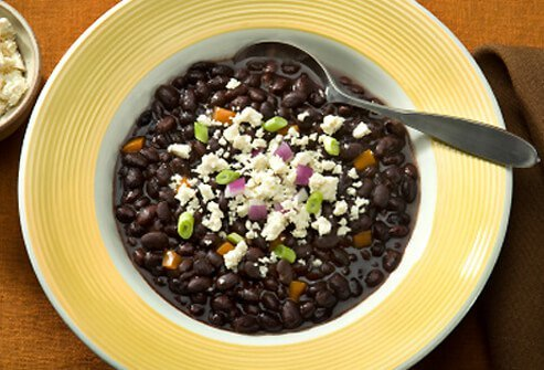 Bowl of black bean soup.