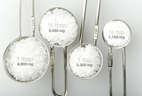 Photo of measuring cups full of various salt amounts, a cause of high blood pressure.