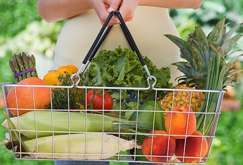 A grocery basket full of produce.