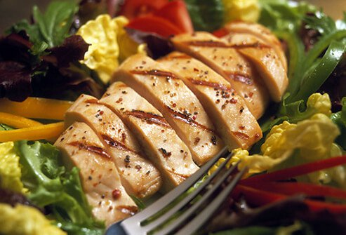 Poultry and salad.