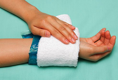 Ice packs reduce pain and swelling.