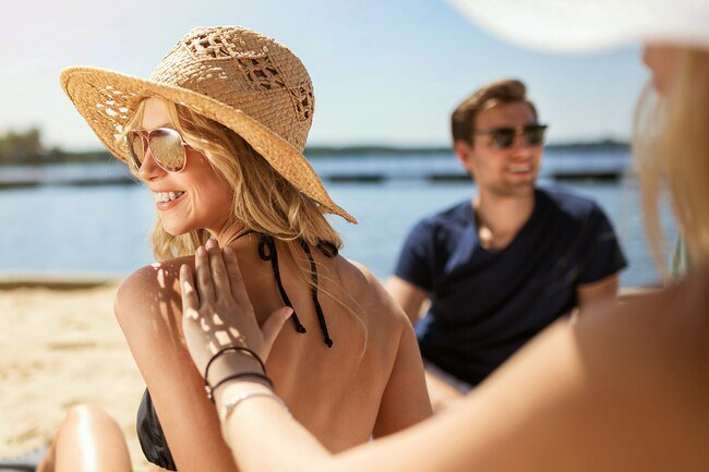 Wear sunscreen and a wide-brimmed hat to avoid sunburn which dehydrates you and makes it harder to stay cool
