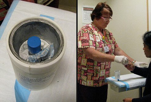 A radioactive container (left) and a patient being given intravenous medication (right).