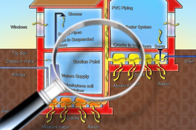 Radon can get into your home through cracks and holes in floors and walls.