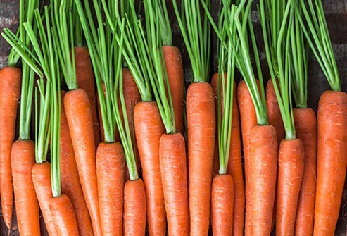 Carrots are rich in beta-carotene which the body converts into vitamin A.