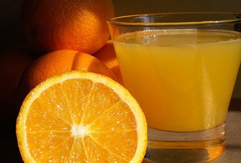 Orange juice is an excellent food source of vitamin C.