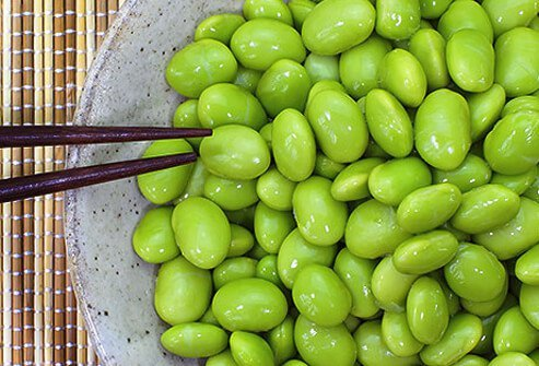 Photo of a bowl of edamame.