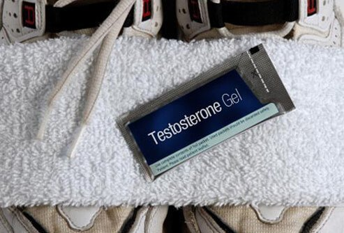 A packet of testosterone gel, low testosterone treatment.