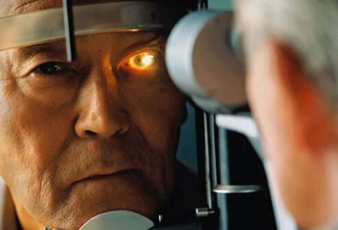 A man getting screened for glaucoma.