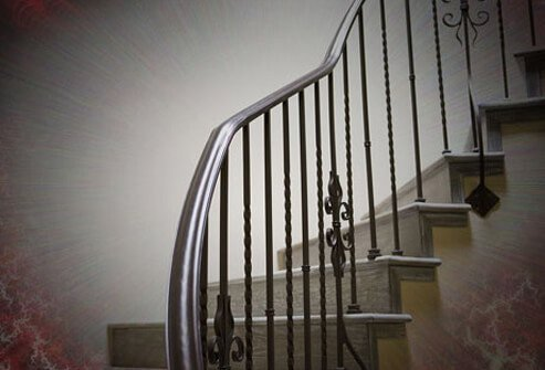 View of a staircase with an aura effect.